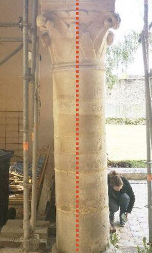 Travées 4 et 5, dévers de la colonne vers l'est